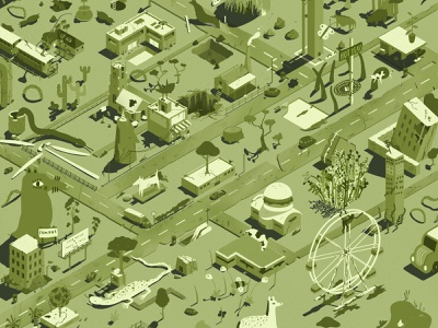 Green City Empty World metro 2033 mutated green isometric illustration collaboration organic reclaiming nature post apocalyptic dystopia empty city lockdown nature reclaiming city green living isometric city