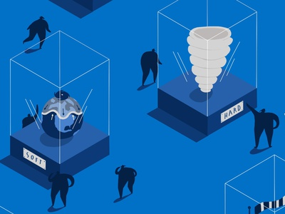 Pentagram x Lloyds of London blue isometric museum isometric illustration climate change natural disasters gallery museum weather hard and soft insurance