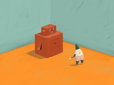 Building a Robot V1 illustration orange teal friend lonely cardboard box imagination children science robot