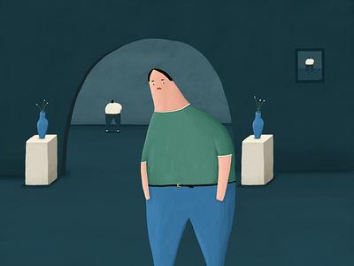Sad Lad dark sombre blue gallery vase depressed personal illustration sad lad