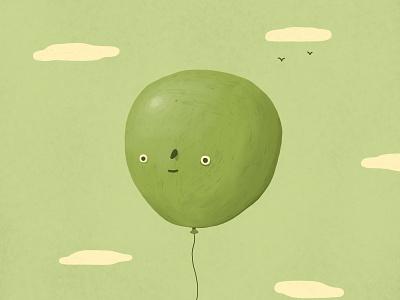 Balloon Boy dale crosby close clouds birds drawing green sky sky balloon boy balloon illustration