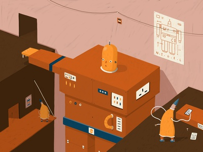 Building a Robot building flat pack ikea robotics robot colour isometric illustration