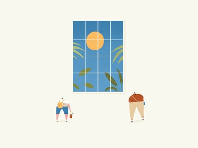 Summer Window sun foliage plants luxury people looking through window window summer illustration