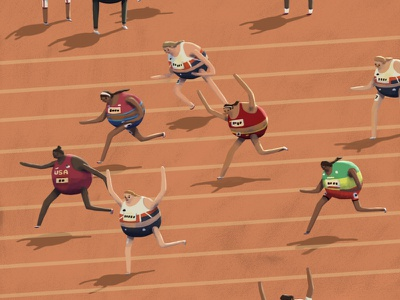 Tokyo 2020 - Women's 800m competition exercise runners usa character fun illustration sports illustration sports team gb 800m sprint olympic games tokyo 2020 track track and field running olympics