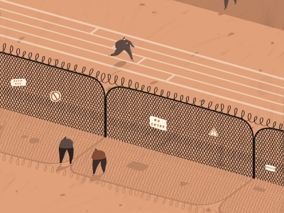 Prison / Jail / The Slammer stock adobe stock people fun keep out no entry fence isometric illustration exercise courtyard character the big house the slammer jail prison
