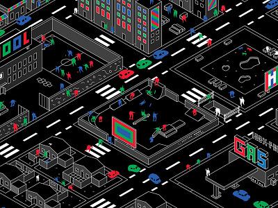 City of Fun - House of Vans x Studio PSK chroma animation city studio psk house of vans vans character people isometric grids colour illustration