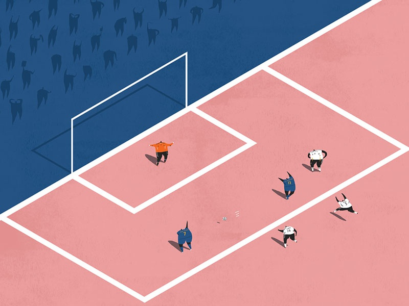 Football world cup miniatures blue pink pitch isometric football illustration