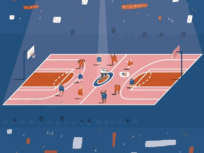 NBA Illustration - For New York Times editorial design basketball illustration sports illustration sports game blue pink referees swearing new york times nyt basketball nba oblique illustration