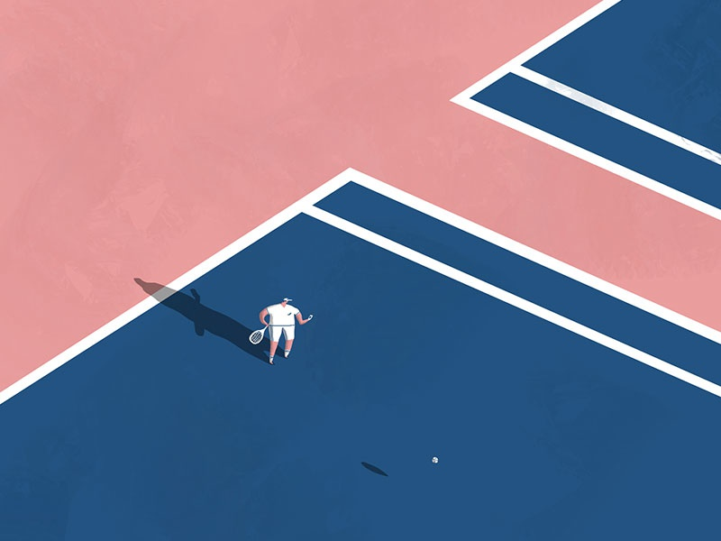 Texting & Tennising text character fun blue pink white isometric shadows court sports illustration tennis illustration sports tennis illustration