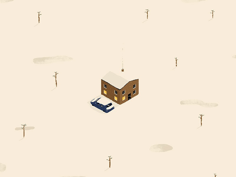Snow miniatures cold winter snowed under isolated desolate trees house car snow isometric illustration