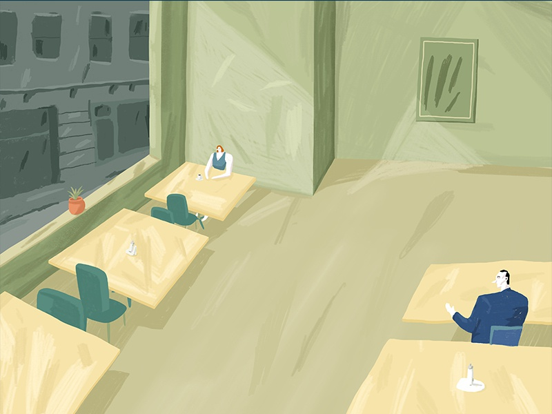 Cafeteria texture procreate painting green sunlight sun cafeteria hopper edward hopper illustration