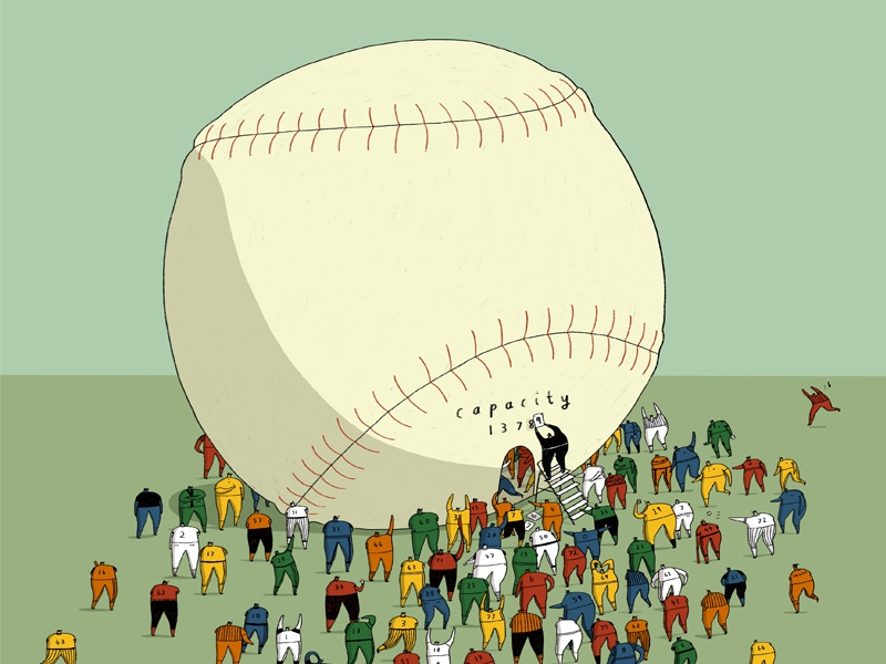 Baseball is Stuffed - For NYT editorial illustration dalesbits dale crosby close mlb new york times nyt baseball editorial illustration