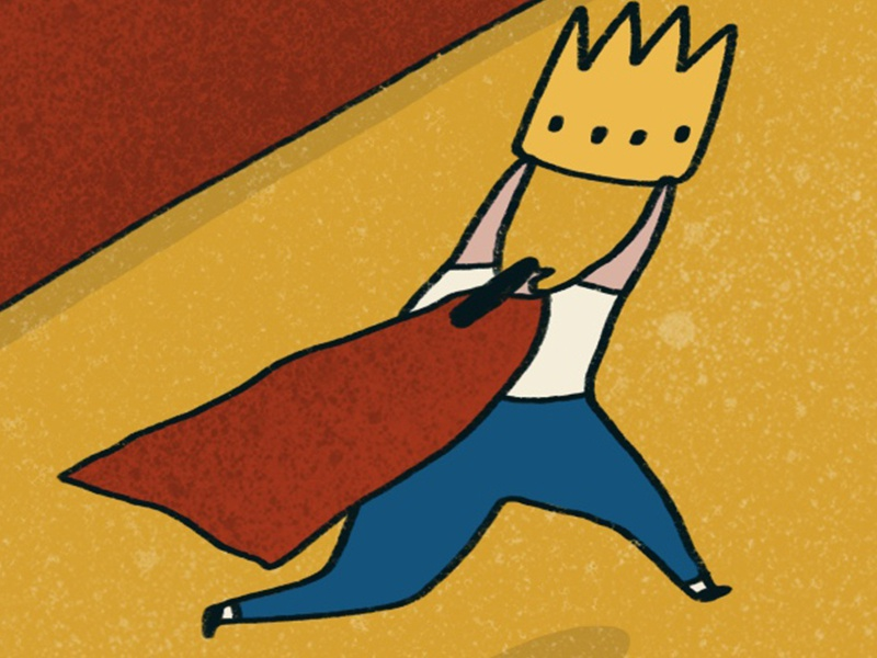 Crown & Cape crop theft runner line cape crown illustration