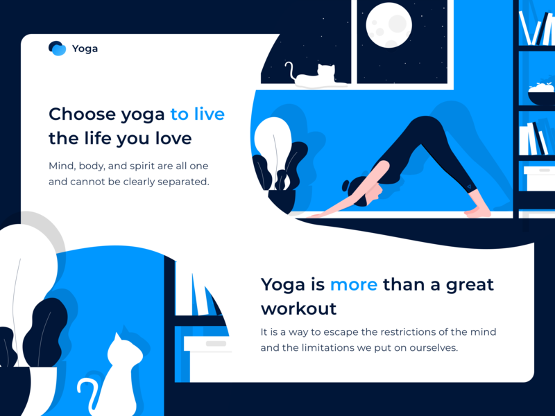 Yoga vector illustration cat relax art drawing web ad site design web ui landing yoga