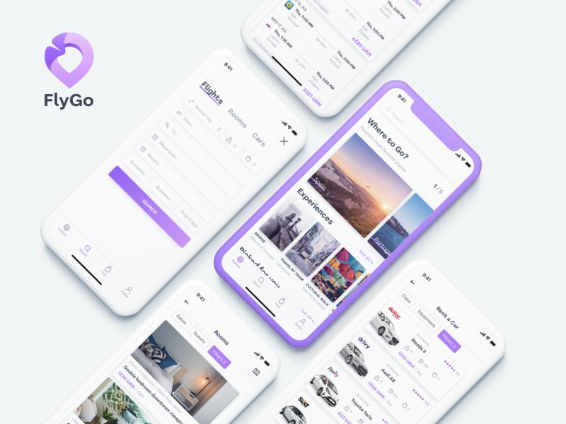 FlyGo Concept App tickets vocation clear design iphone car rooms flights rental app purple logo fly mobile app mobile ui app