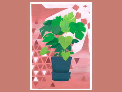 Monstera deliciosa mosaic ill art acrylic leaves sweets cheese plant painting illustration plant