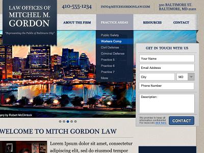 BaltimoreLaw Firm dropdown forms ui web
