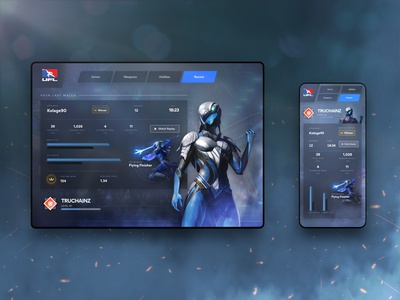 Sandbox Profile Stats Concept UI web design mobile experience interface profile ui video game