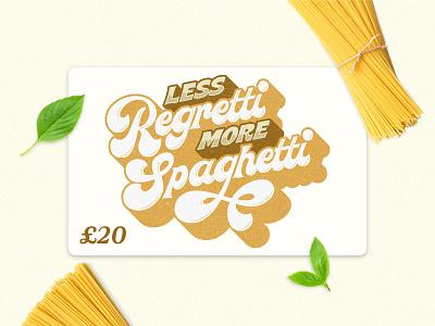 Pasta Restaurant Gift Card spaghetti pasta logo lettering logo typespire typegang handlettering brand identity hand lettering gift card giftcard merch design goodtype