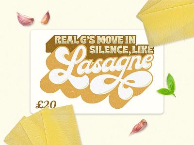 Lasagne Gift Card restaurant merch design goodtype typetopia lasagna pasta gift cards handlettering brand identity lettering hand lettering