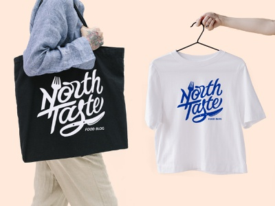 North Taste Food Blog Merch lettering wordmark typegang brand identity customtype typography custom lettering logotype blog merch food logo food blog lettering logo hand lettering