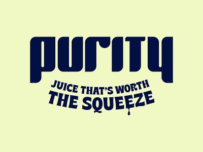 Purity Juice Logo slogan juice packaging juice branding custom lettering customtype wordmark logotype brand identity purity logo designer juice logo