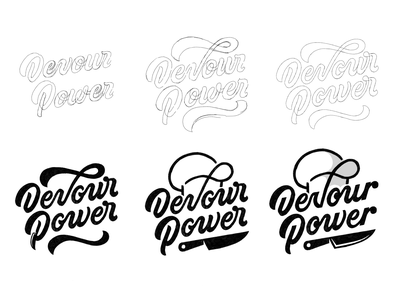 Devour Power Lettering Sketches food blog logotype devourpower custom type lettering lettering illustration lettering logo customtype typegang goodtype hand lettering
