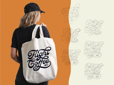 Flight Coffee Merch jacktype logo designer flight coffee lettering logo hand lettering coffee packaging coffee branding logo sketch logo process coffee logo totebag coffee merch