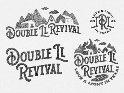Double LL Revival - Responsive Logo Concept design illustration logo hospitality cowboy country logo country western texas custom type lettering logo handlettering lettering logotype brand identity hand lettering responsive logo logo designer logo design logo concept logo sketch