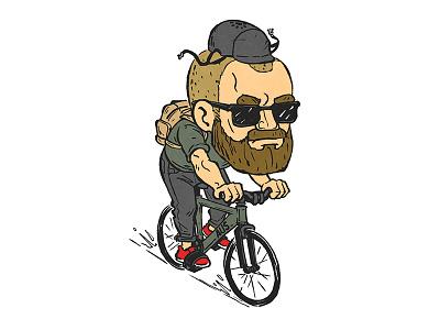 Josh caricature bike biking fixed gear fixie