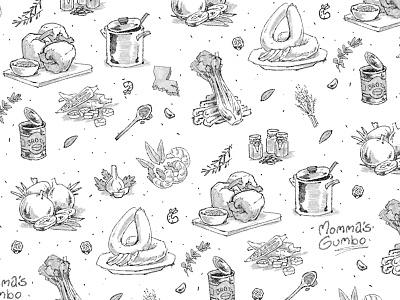 Momma's Gumbo food pattern repeat pattern print