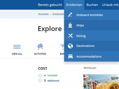 Explore on desktop ui cruiseline teaser application fluid grid website html css3 media-queries responsive