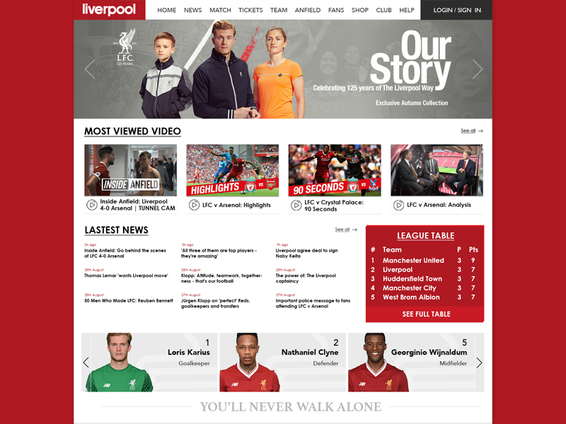 Liverpool FC website concept concept web interface user ui liverpool fun football design