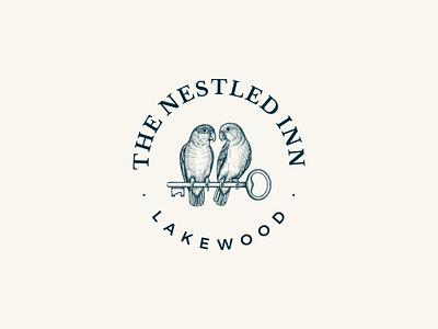 The Nestled Inn - Logo design brand identity animal artisan nature vector bird logo design rustic branding vintage logo illustration hand drawn