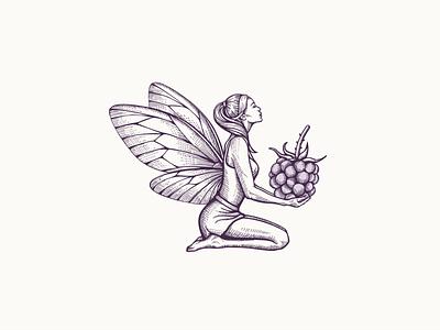 Violet™ Fairy woman illustration blackberry fairy crosshatching crosshatch vectorart vector art vector branding logo illustration hand drawn