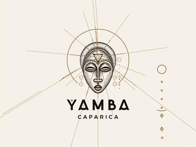 YAMBA CAPARICA - Brand Image good vibes mystic sun design crosshatching crosshatch african mask logo design rustic nature branding logo illustration hand drawn