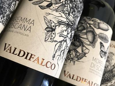 VALDIFALCO Wine Labels italy toscana black ink animal vector nature branding illustration hand drawn insects botanicals maximalism crosshatching crosshatch label design wine