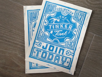 Tinker Tank Poster one-color block print poster carving linoleum hand made hand printed hackerspace miami blue print flyer