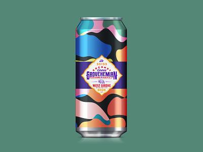 Beer label design for Grovehemian, West Grove Sour tropical package design package illustration florida typography type beer can beer label beer lockup logo branding