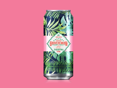 Beer label design for Grovehemian, Tigertail IPA illustration floral tropical beer label beer can florida miami badge lockup typogaphy type logo branding beer branding package design