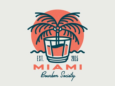 Miami Bourbon Society Logo branding cocktail lockup type design palmtree tropical typography whisky whiskey bourbon miami vector illustration logotype mark logo