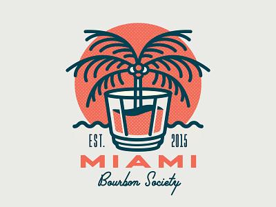 Miami Bourbon Society Logo branding cocktail lockup type design palmtree tropical typography whisky whiskey bourbon miami vector illustration logotype mark logo