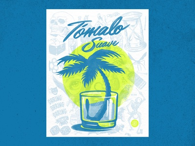 Tómalo Suave, Risograph Print collage logos branding lockup sunset cocktail typography whiskey poster design poster florida tropical graphic design palm tree risograph risography handlettering type