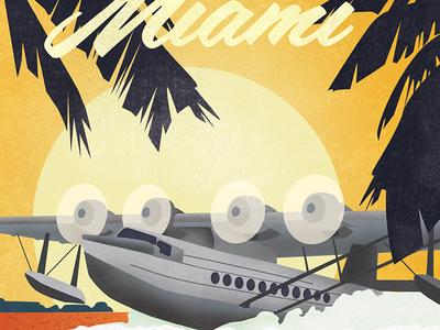 Coconut Grove Travel Poster - Seaplane