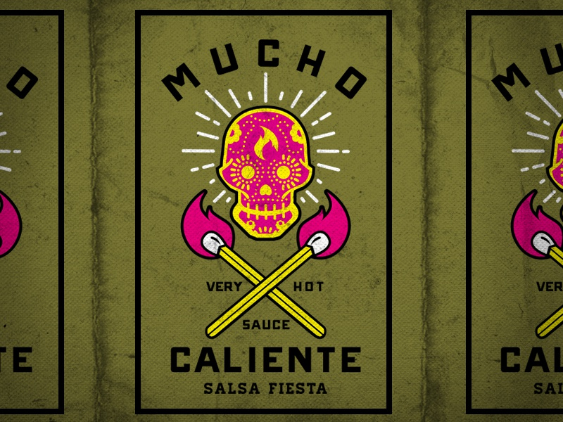 Hot Sauce Label Concept mexican packaging design typography sugar skull illustration hot sauce label lockup skull type fire