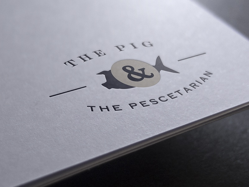 Pig & Pesce Logo food logotype brand identity type illustration design lockup branding mark logo