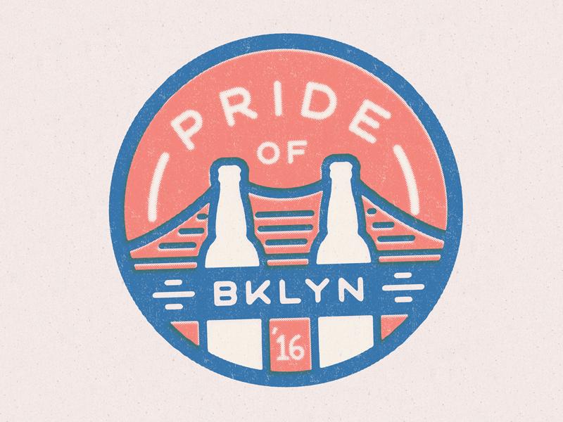 Pride of Brooklyn 2016 Badge icon event beer bottle texture design lockup mark logo illustration bridge badge