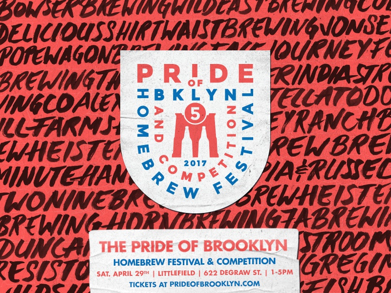 Pride of Brooklyn 2017 Post brooklyn new york beer event bridge brush script handmade design illustration lockup type