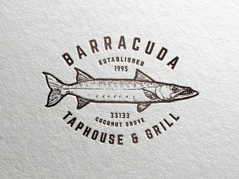 Barracuda Taphouse & Grill Logo animal design fish illustration restaurant typography type identity stamp branding mark logo