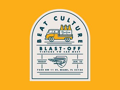 Beat Culture, Blast-off Vintage VW Car Meet beer branding crest volkswagen branding typography type brewery beer vw vw bus illustration logo badge lockup